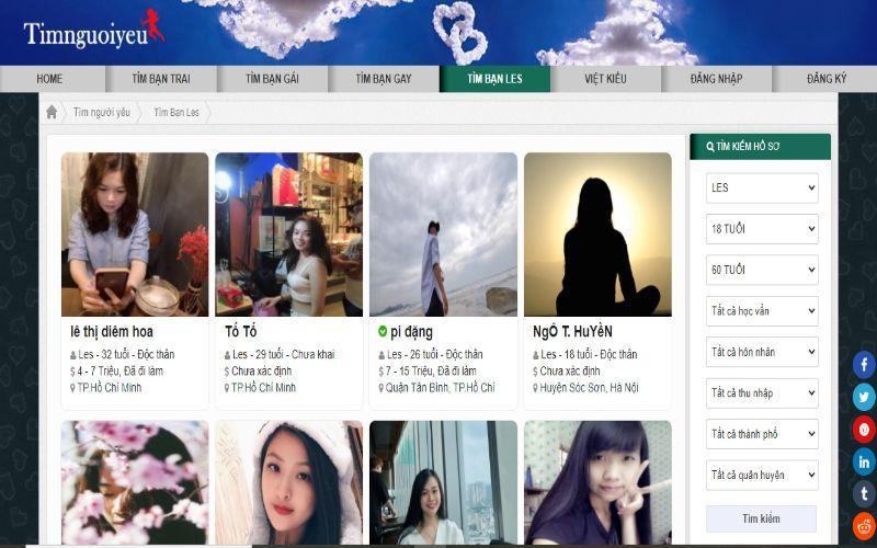 5 website tìm bạn Les toàn xinh gái giỏi giang